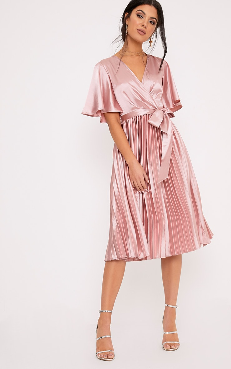 Pink satin dress pretty little thing