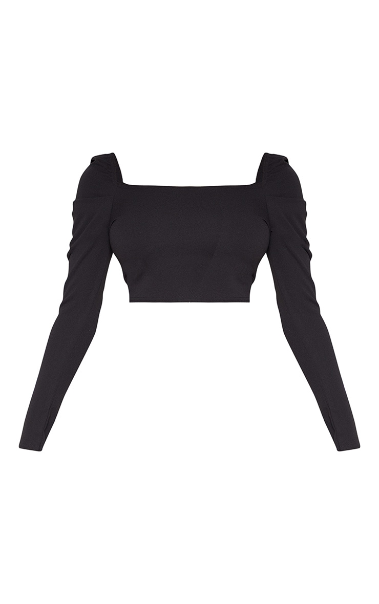 Tall Black Square Neck Long Sleeve Crop Top  3