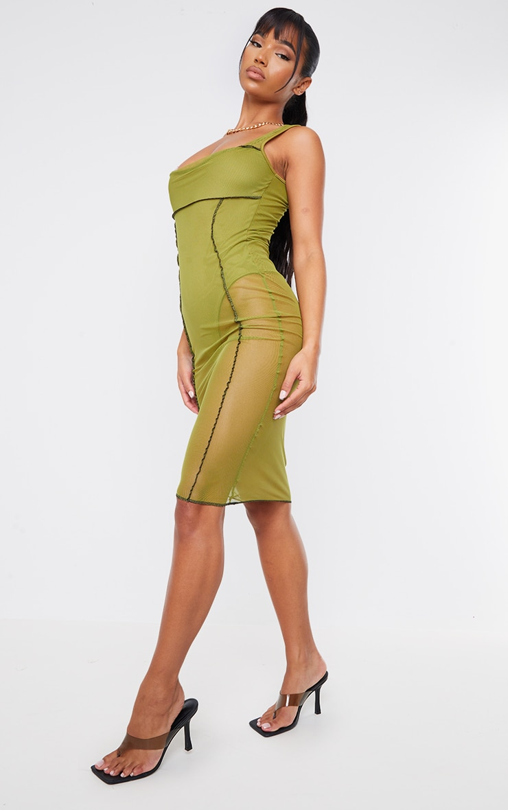 Olive Mesh Overlock Stitch Sleeveless Square Neck Midi Dress 3