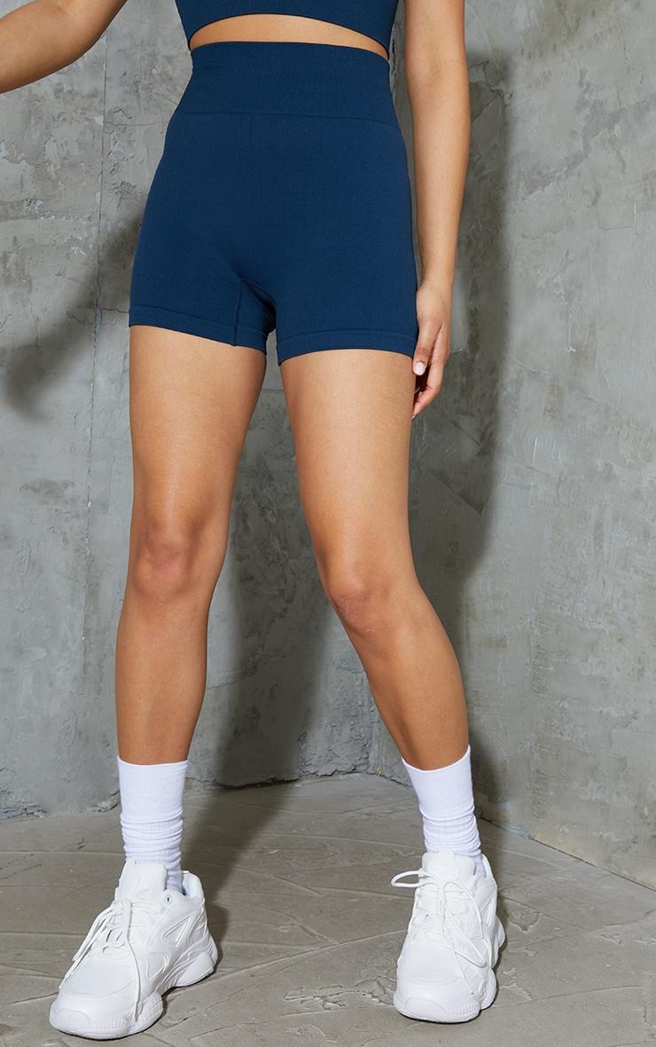 Navy Basic Seamless Booty Shorts 2