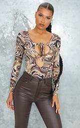 Brown Marble Slinky Lace Up Cross Front Halterneck Long Sleeve Bodysuit 1
