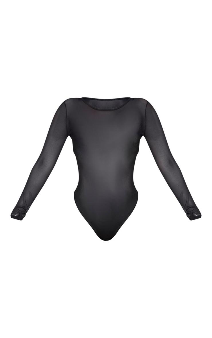 Shape Black Mesh Long Sleeve Bodysuit 5