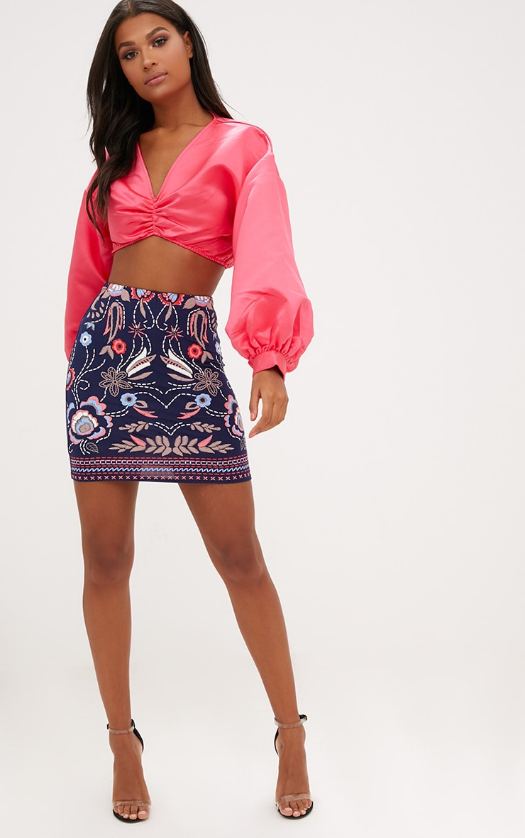 Navy Floral Embroidery Print Mini Skirt 5