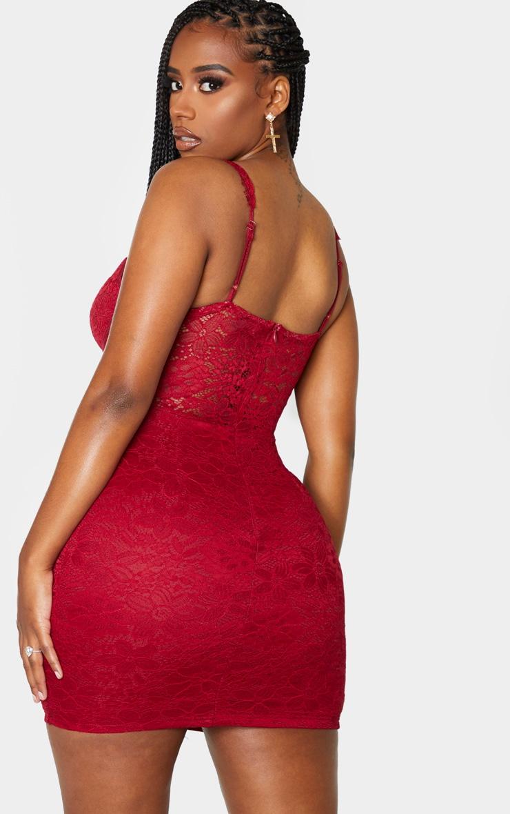 Shape Burgundy Lace Mesh Stripe Strappy Bodycon Dress 2