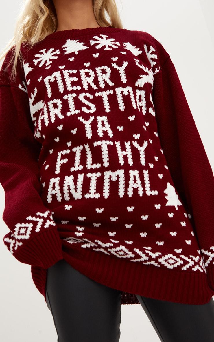 Burgundy Merry Christmas Ya Filthy Animal Christmas Jumper 4