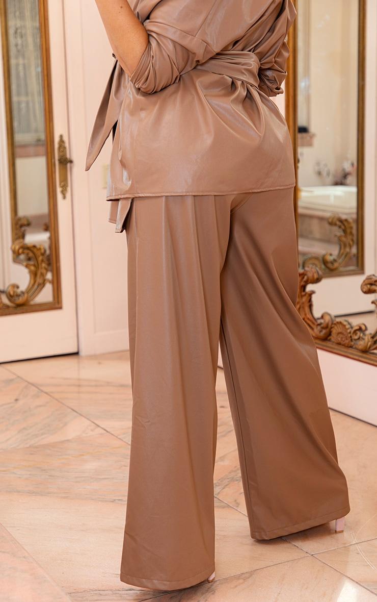 Plus Taupe Faux Leather Tortoise Belt Wide Leg Pants 4