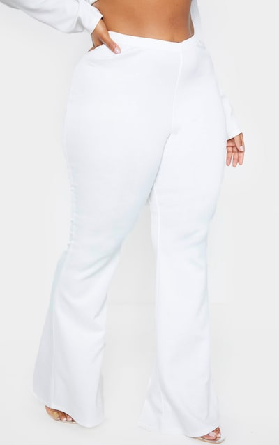 Plus White Scuba Flared Trousers