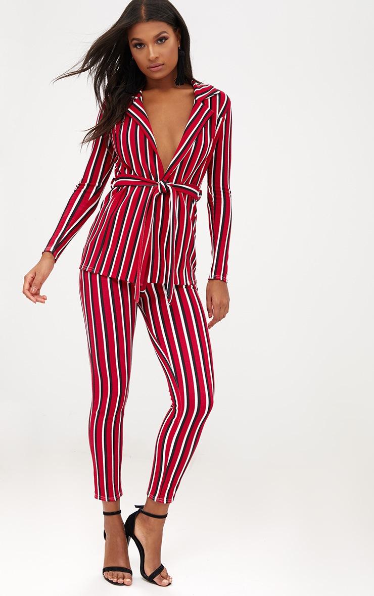Red Contrast Stripe Belted Blazer 4