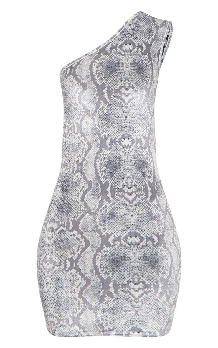 Grey Snake Print Velvet One Shoulder Bodycon Dress 3