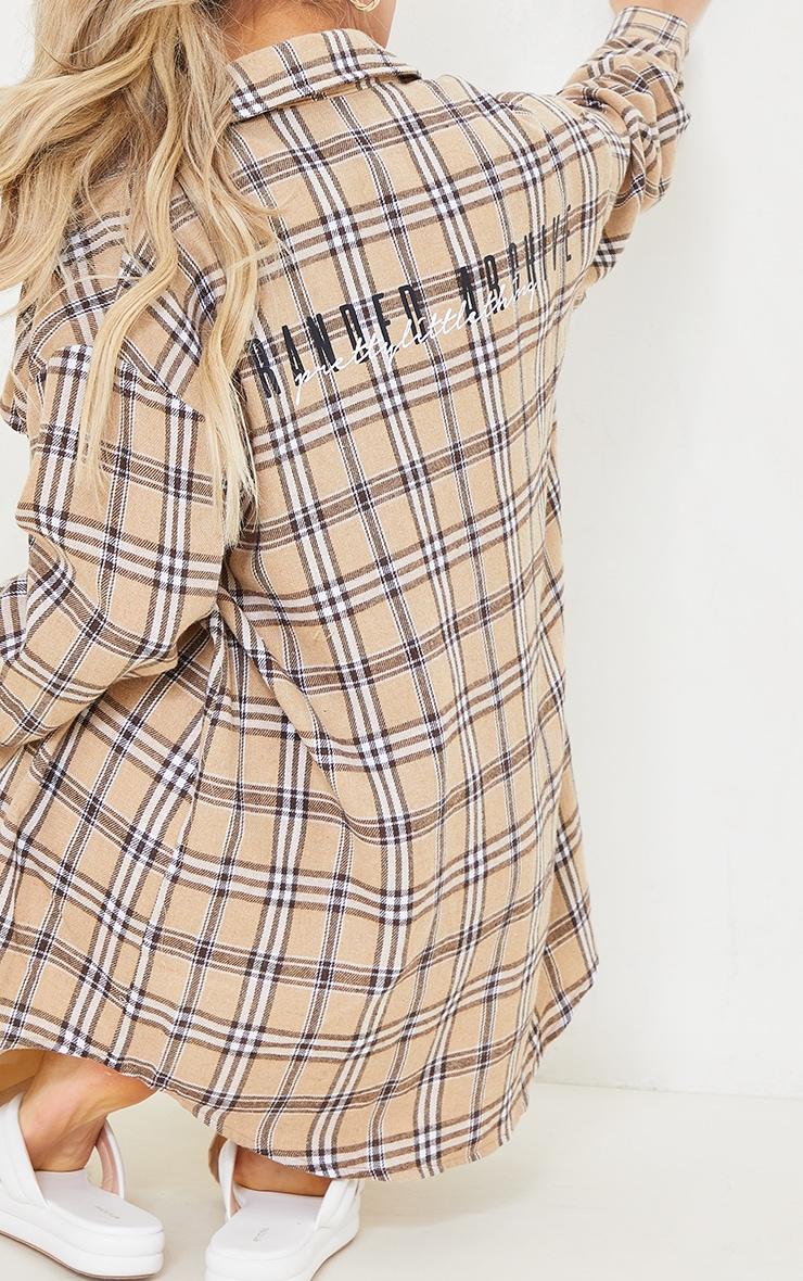 PRETTYLITTLETHING Petite Stone Print Checked Oversized Shirt 4