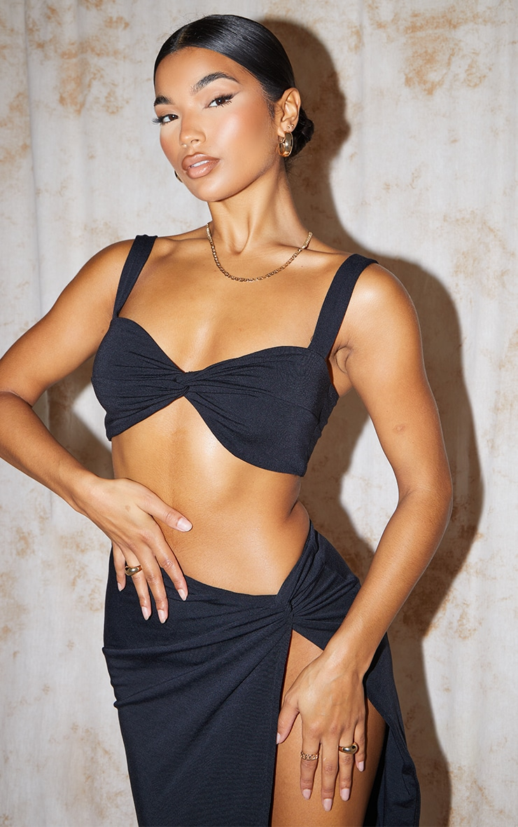 Recycled Black Contour Jersey Twist Front Crop Top 1