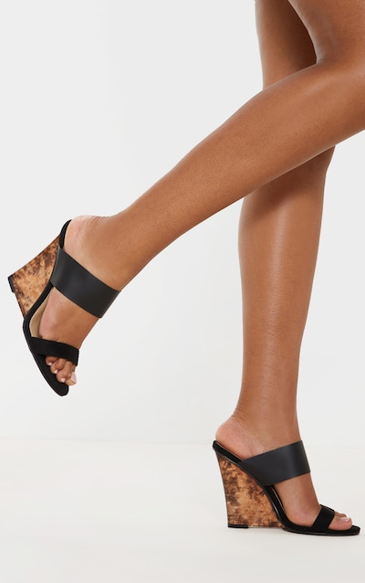 Black Tortoise Wedge Mule Sandal