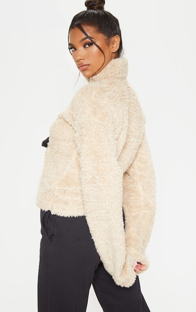 Sand Borg Pocket Zip Front Oversized Sweater