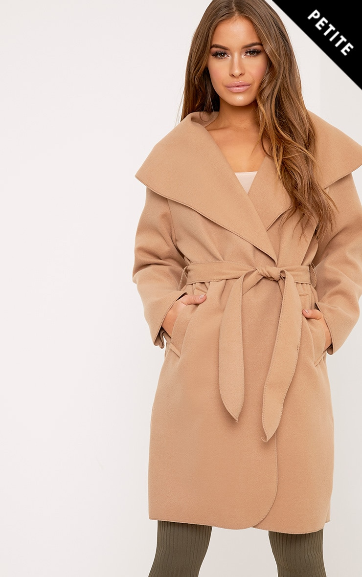 Petite Veronica Camel Oversized Waterfall Belt Coat 1