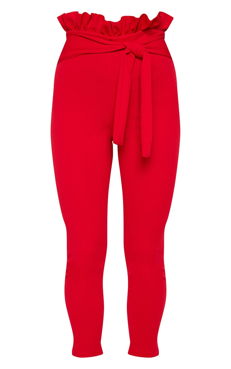 Perlita Red Paperbag Skinny Trousers 3