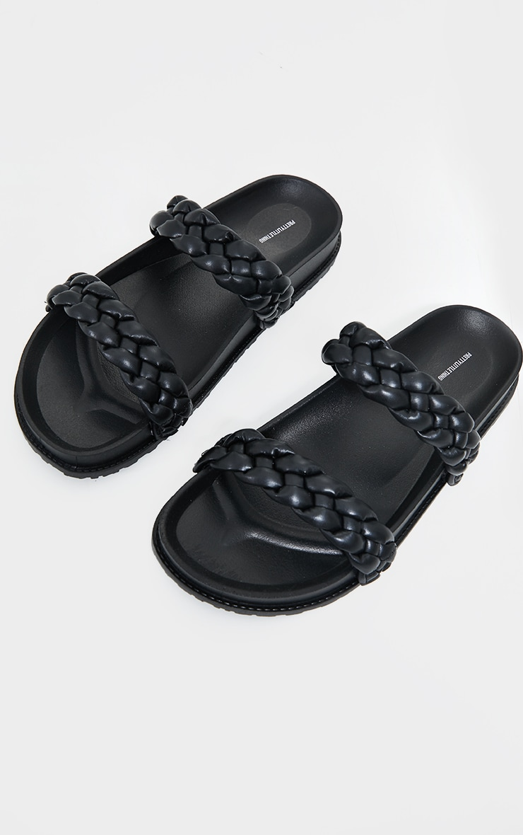 Black PU Chunky Platted Twin Strap Footbed Sandals 3
