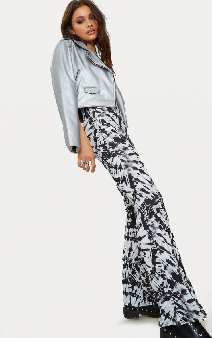 Black and White Tie Dye Jersey Flare Trousers 4