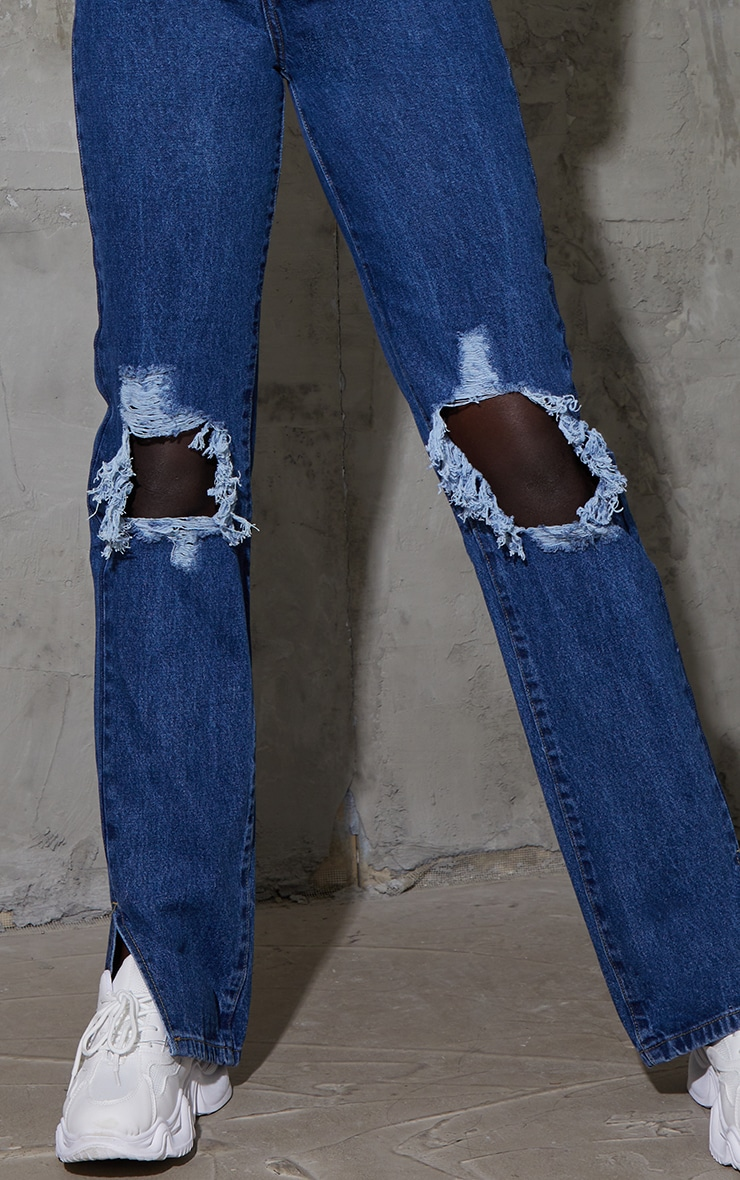 Tall Mid Wash Distressed Knee Split Hem Denim Jeans 4