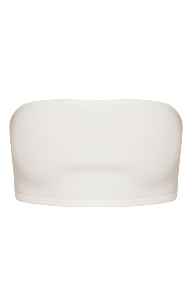 Crop top bandeau en néoprène blanc 3