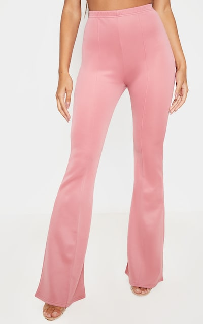 Dusty Rose High Waist Extreme Flare Long Leg Trouser