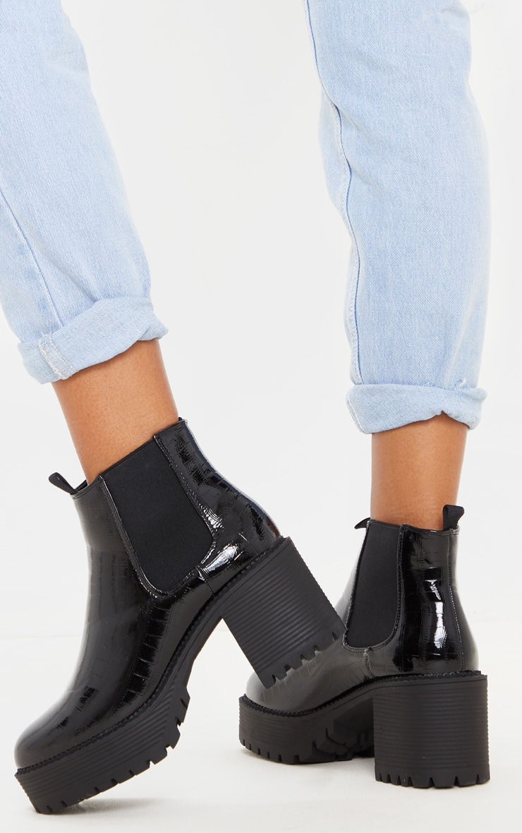 Black PU Chunky Cleated Chelsea Ankle Boot 1