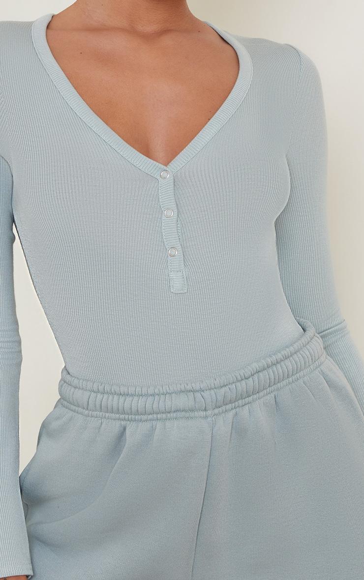Blue Long Sleeve Popper Detail Thong Bodysuit 4