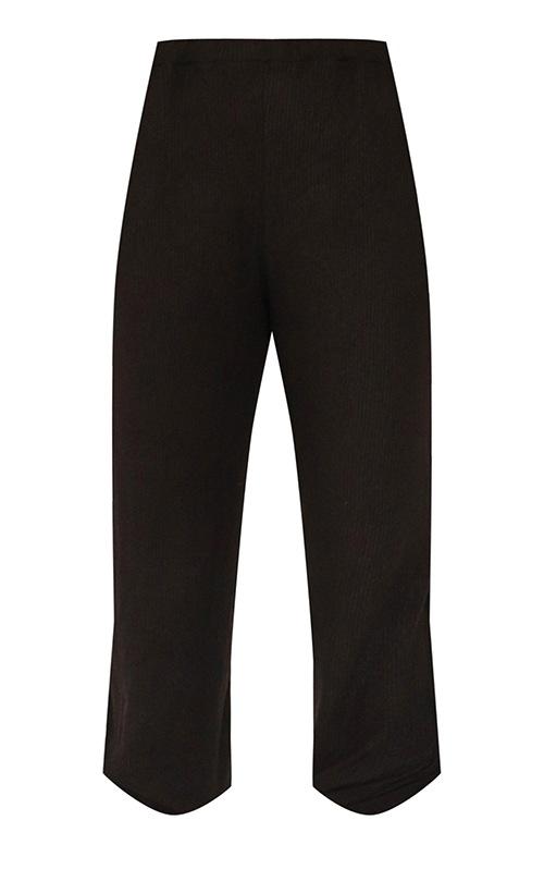 Petite Black Brushed Rib Joggers 5