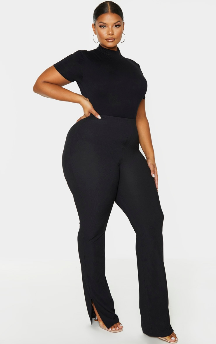 Plus Black Ribbed Skinny Split Hem Pants 1