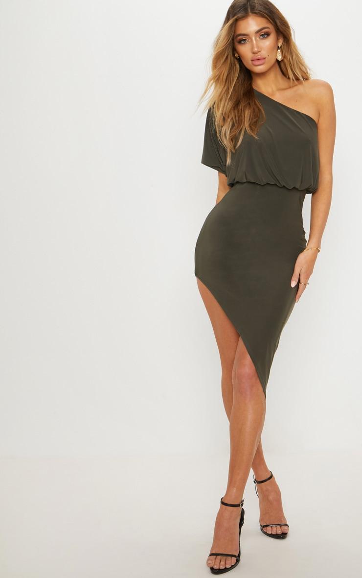 Khaki Drape One Shoulder Asymmetric Midi Dress 1