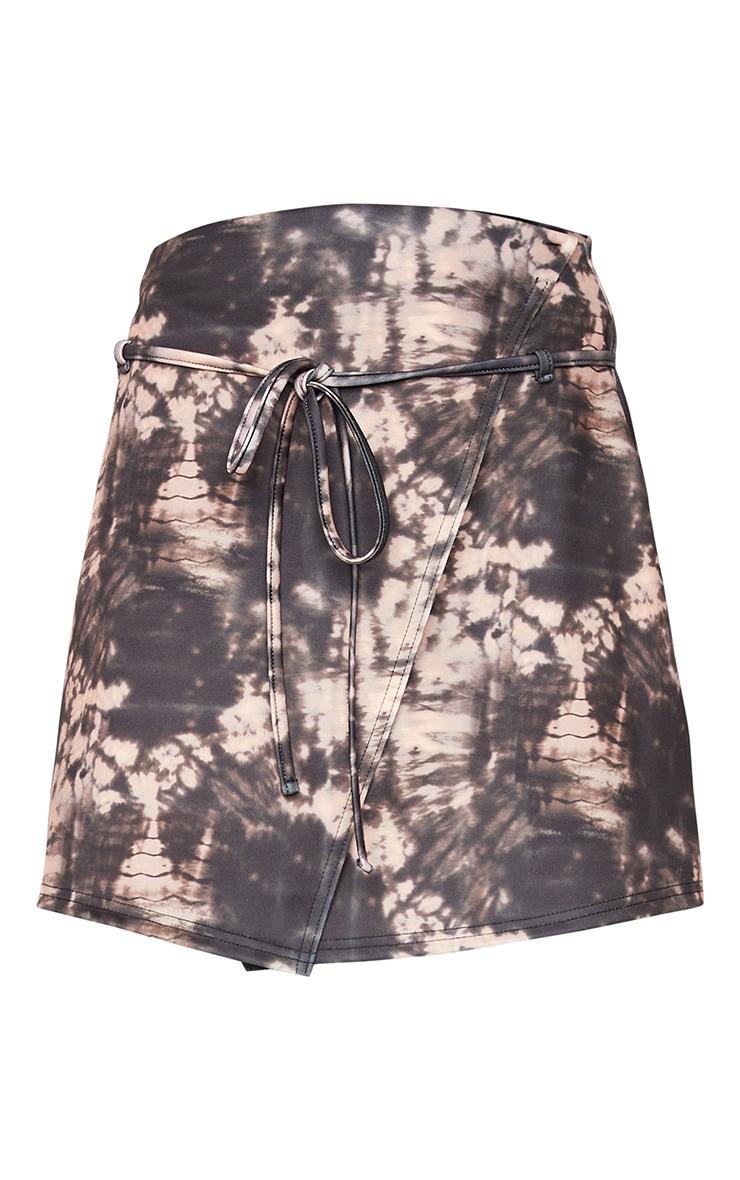 Black Tie Dye Printed Scuba Wrap Mini Skirt 6