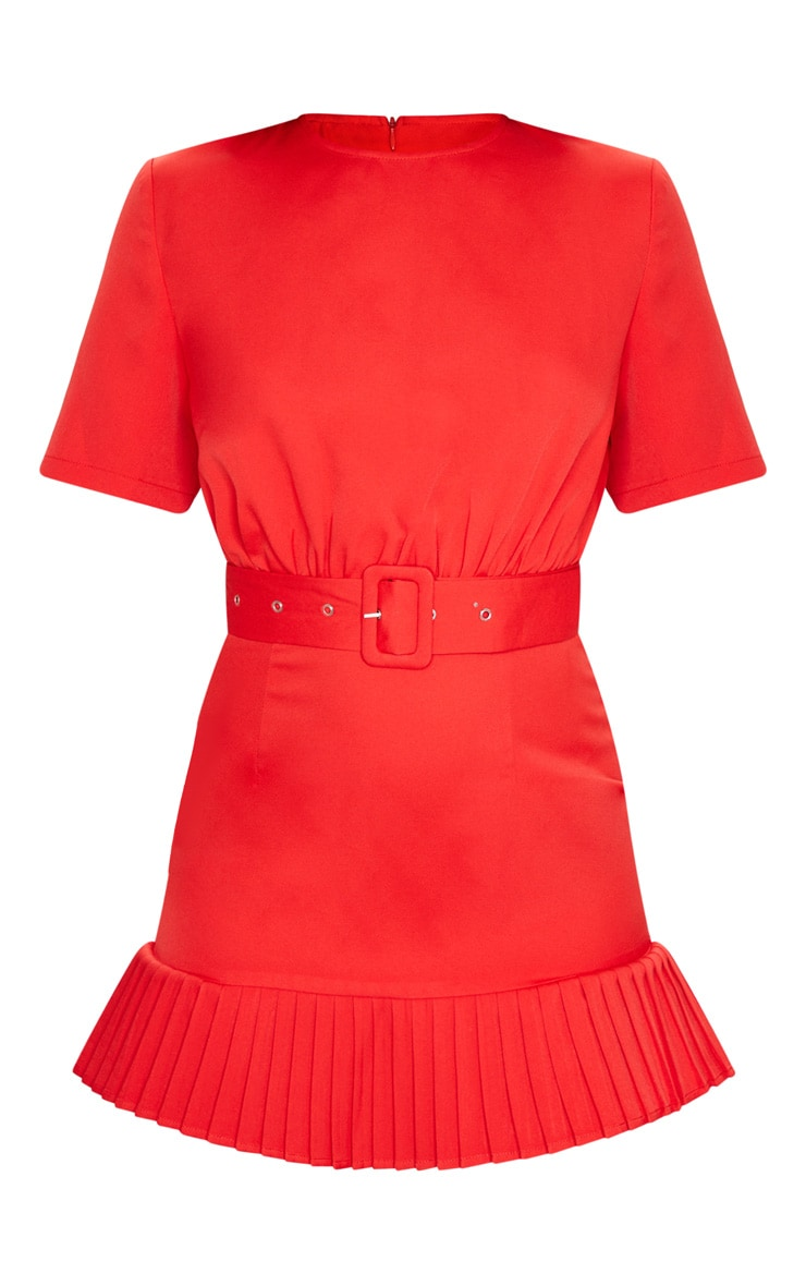 Red Ruched Bust Belt Detail Pleated Hem Shift Dress 5