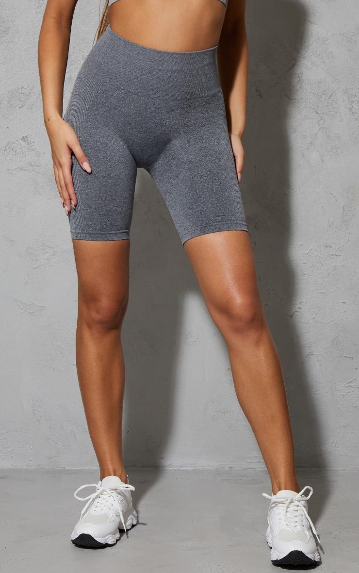Grey Marl Seamless Ruched Bum Bike Shorts 2