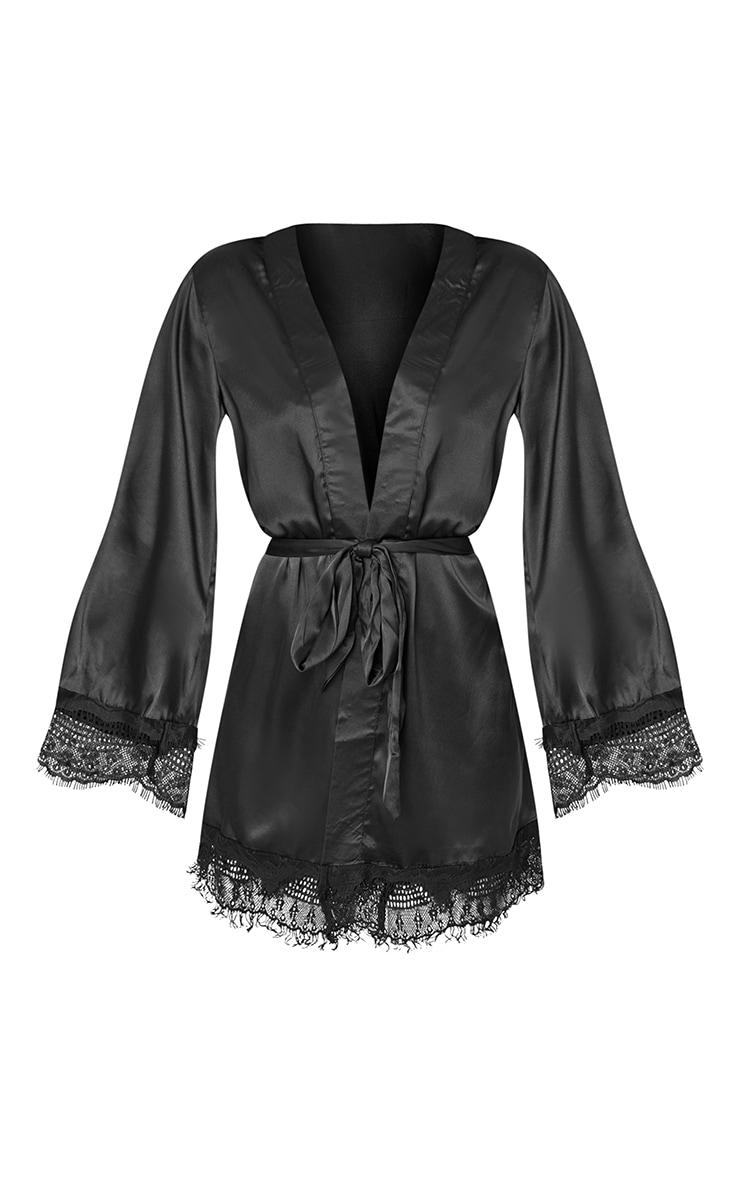 Black Premium Lace Trim Satin Robe 5