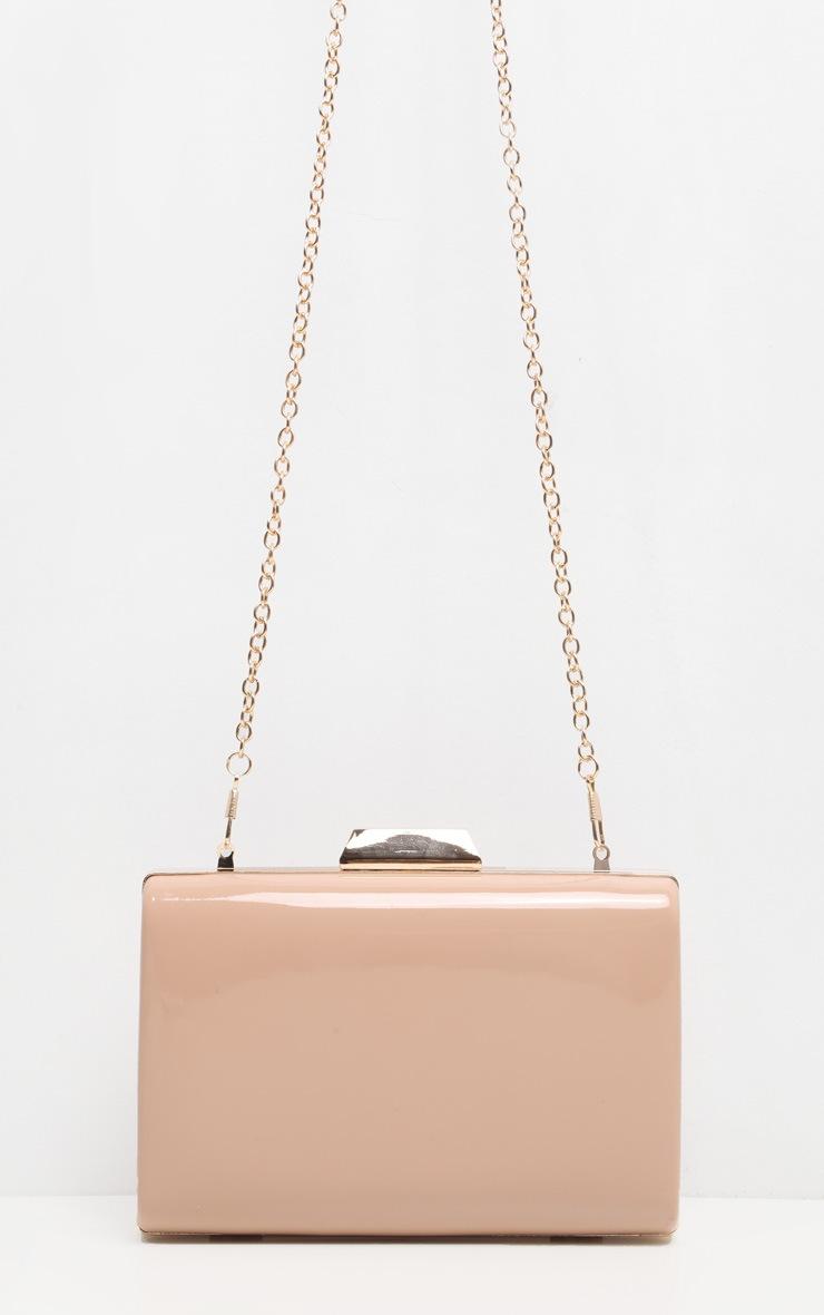 Nude Patent Box Clutch Bag 2