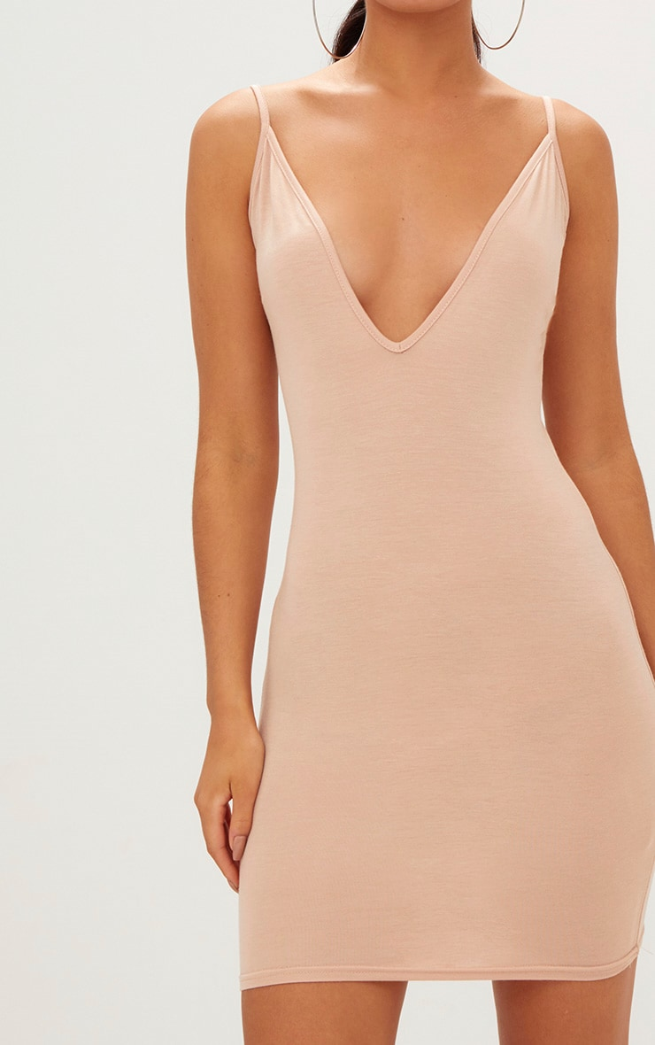 Nude Jersey Strappy Plunge Bodycon Dress 5