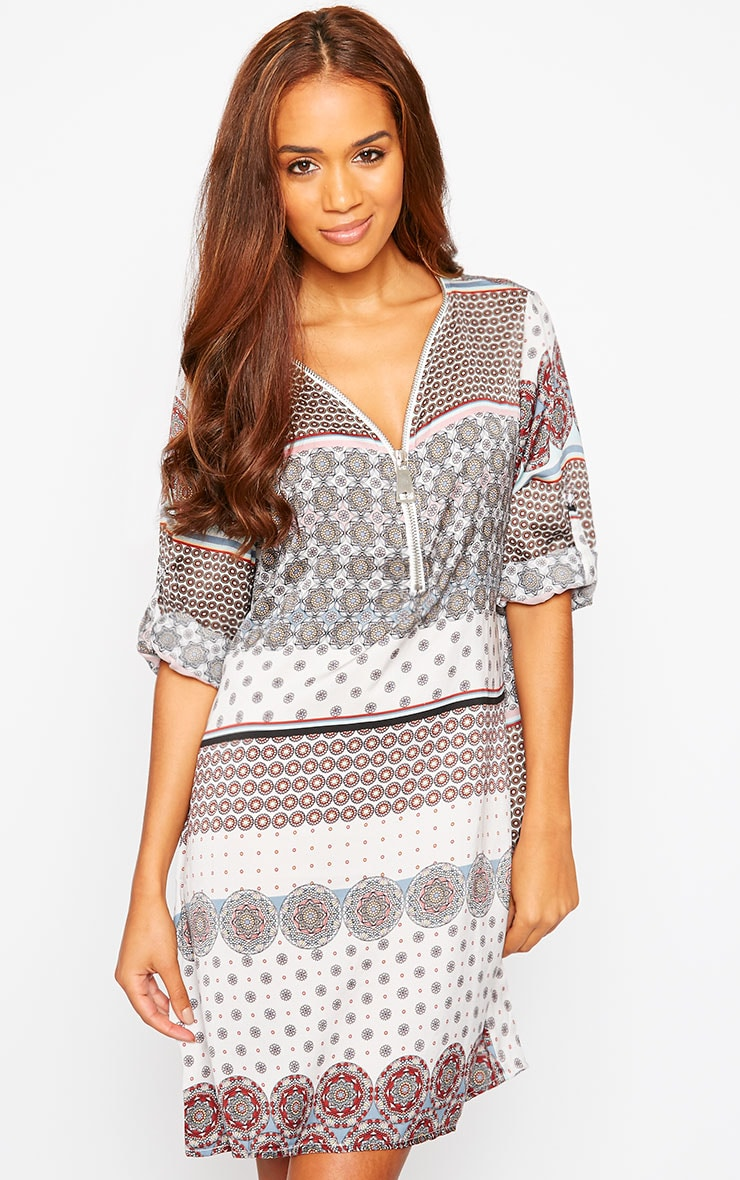 Priscilla White Zip Front Paisley Print Dress 1