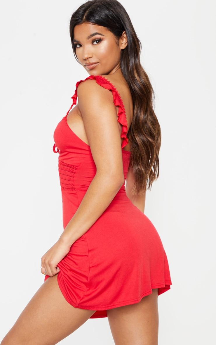 Red Trim Detail Tie Front Shirred Tea Dress 2