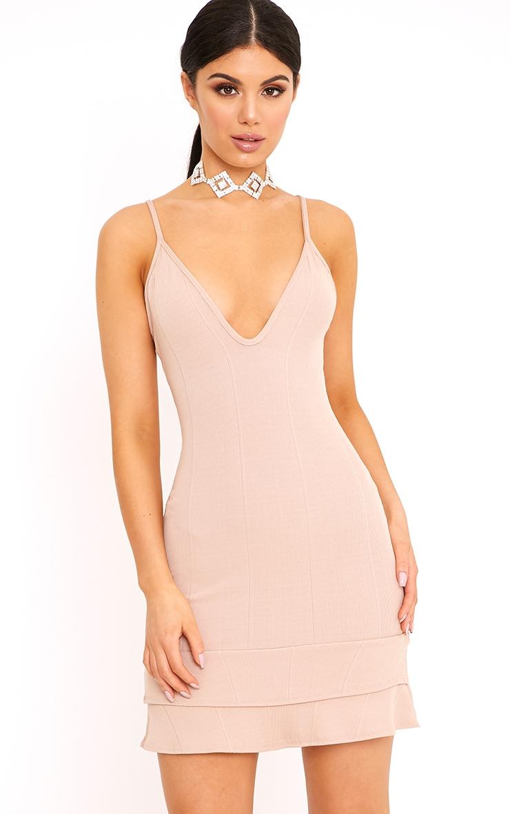 Carletta Nude Bandage Frill Hem Bodycon Dress 1