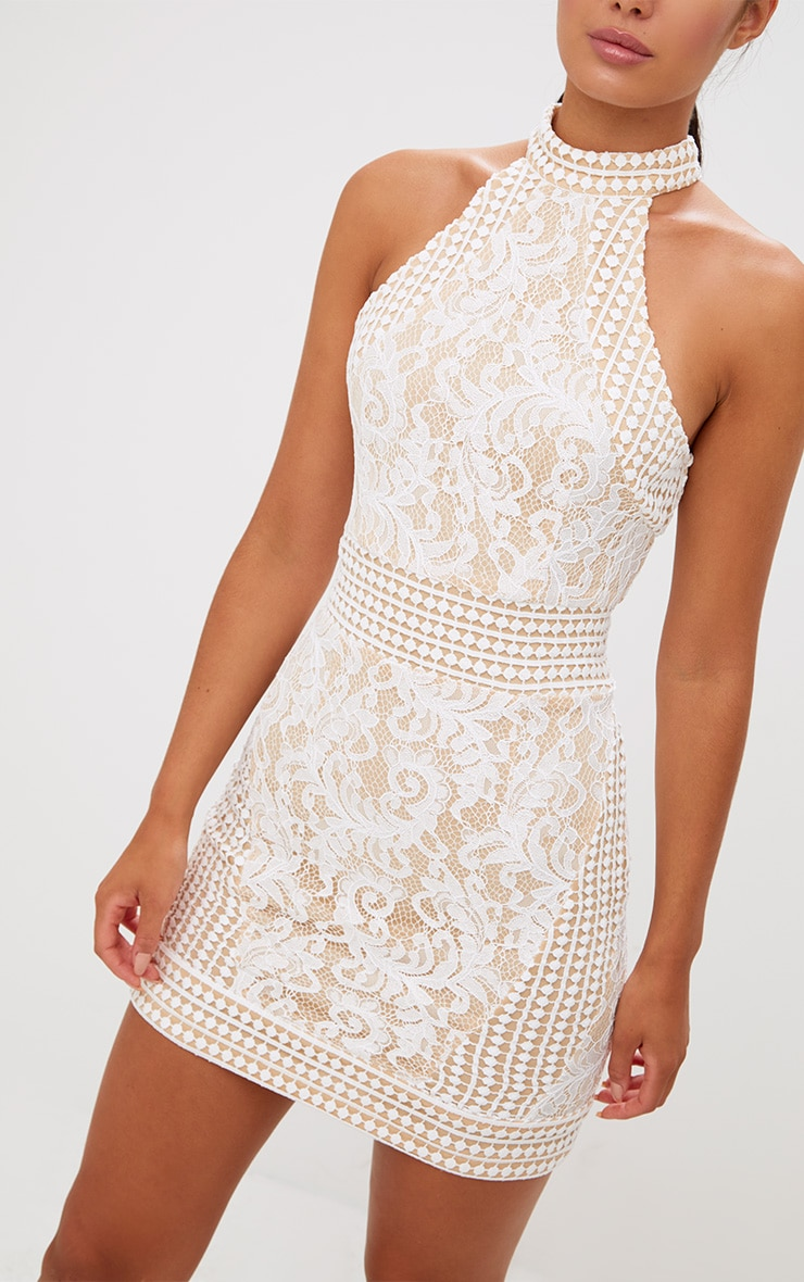 White High Neck Lace Crochet Bodycon Dress 5