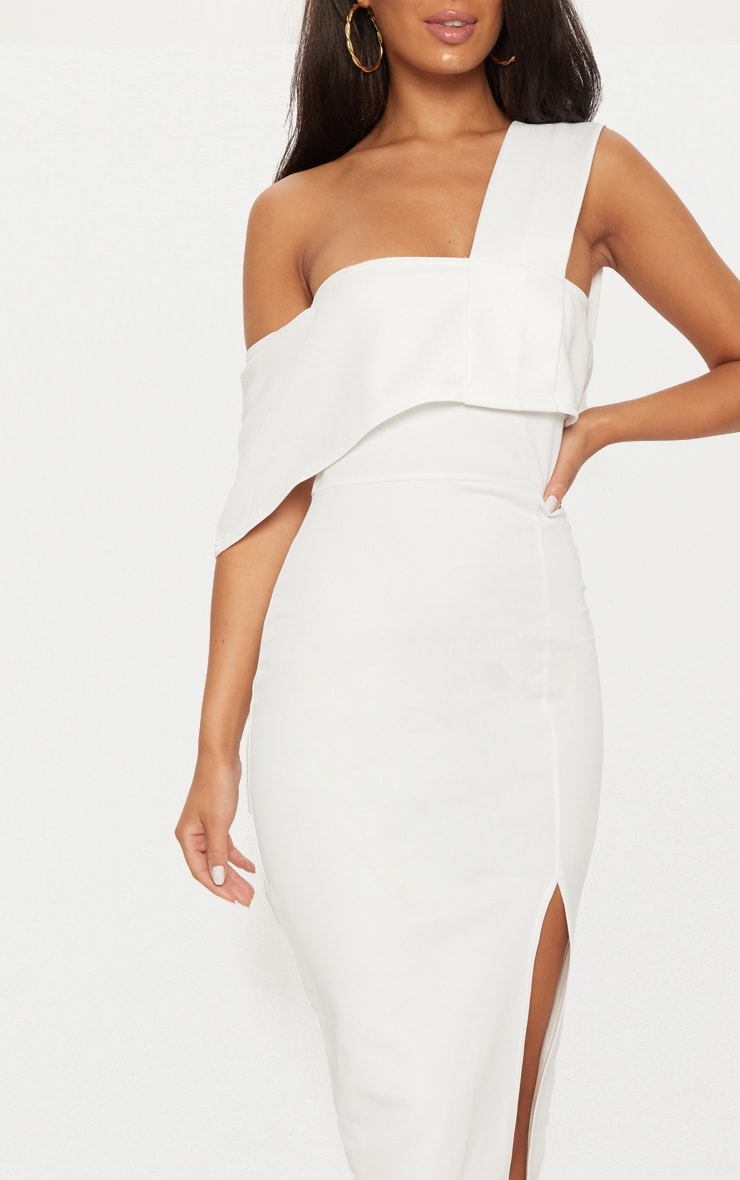 White Asymmetric Strap Split Detail Midi Dress  5