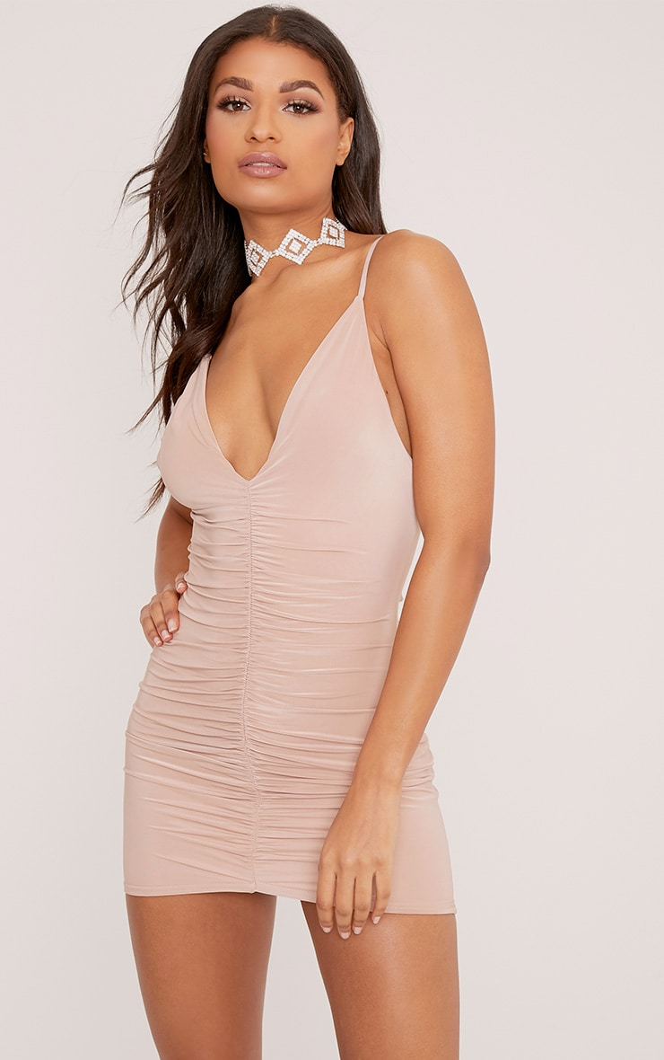 Evangeline Nude Slinky Ruched Plunge Bodycon Dress 1