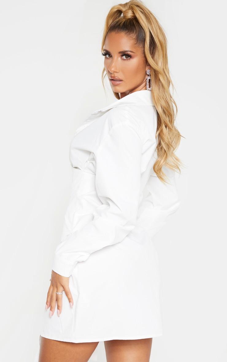 Robe chemise blanche style corset à crochets et oeillets 2