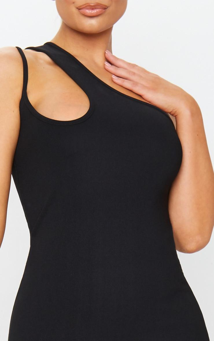 Black Bandage Rib Asymmetric One Shoulder Midi Dress 4