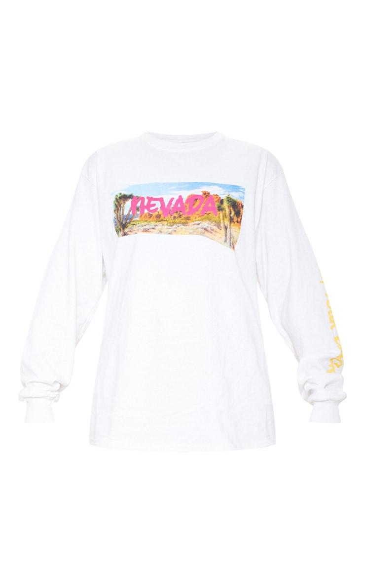 White Nevada Slogan Long Sleeve T Shirt 3