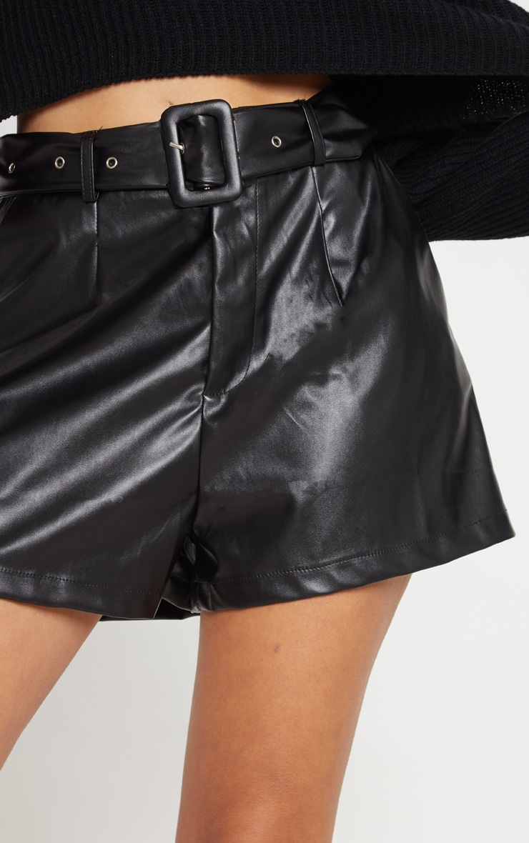 Black Faux Leather Belted Short 6