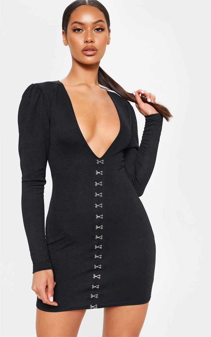 b9d9e8bb61f1 Black Long Sleeve V Plunge Hook And Eye Bodycon Dress image 1