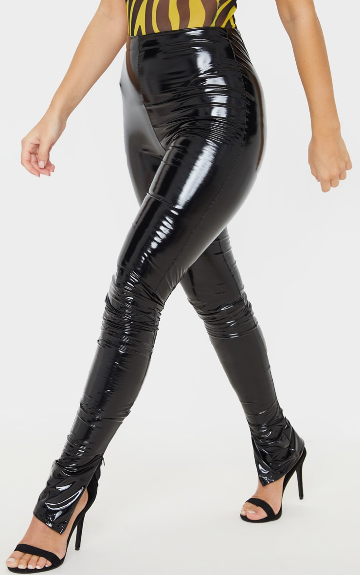 Black Vinyl Split Hem Skinny Trousers 2