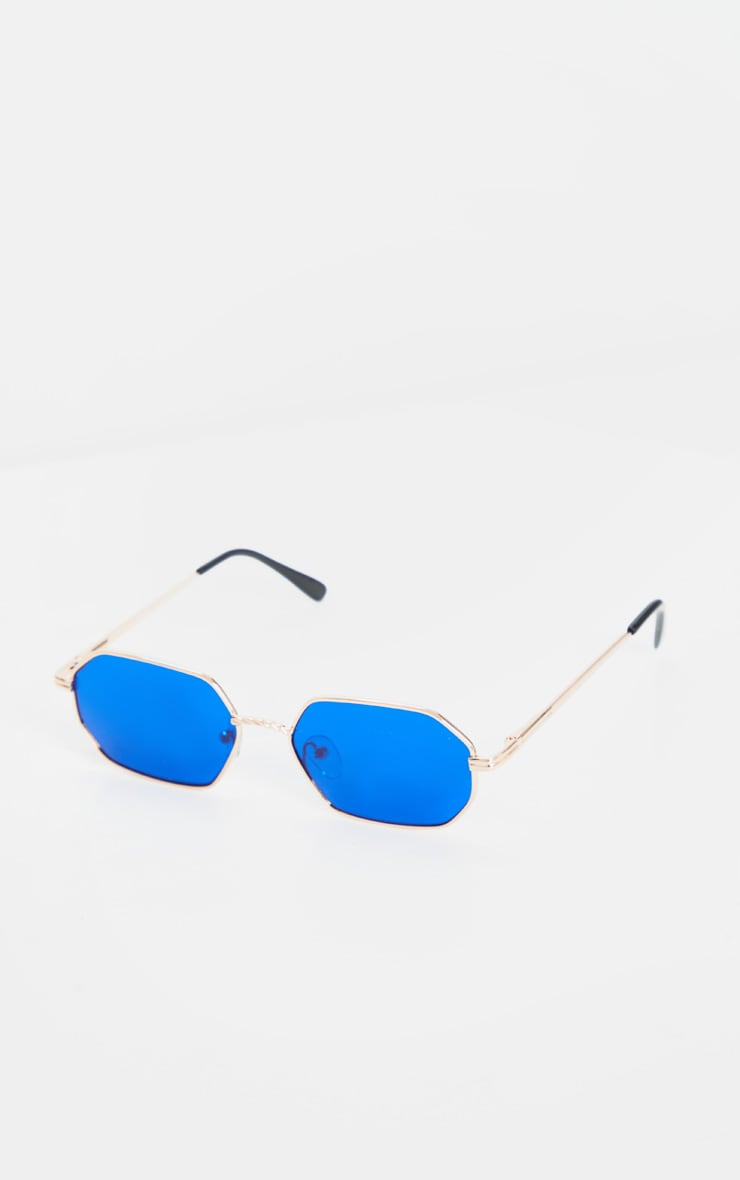 Gold Trim Blue Lens Hexagon Sunglasses 4