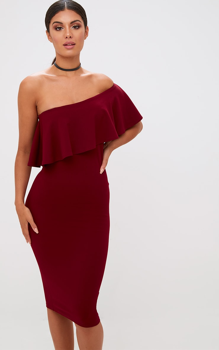 9e417fc6b343 Burgundy One Shoulder Midi Dress. Dresses