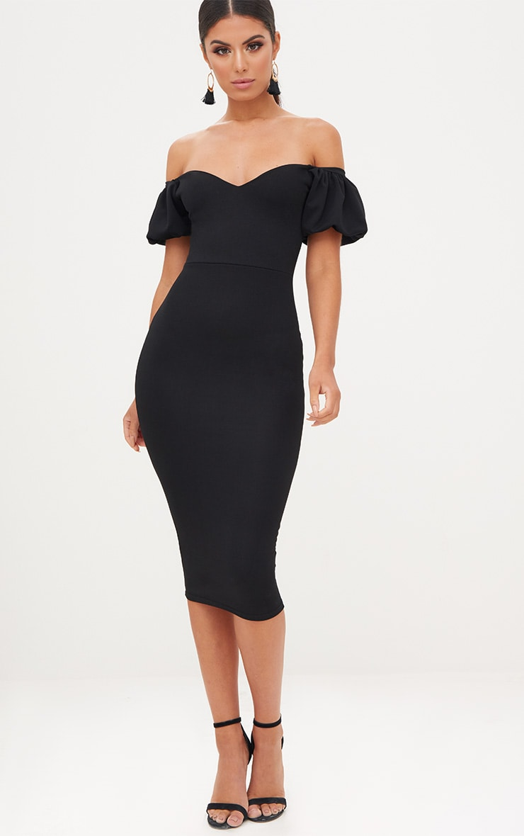 Black Balloon Sleeve Bardot Midi Dress 4